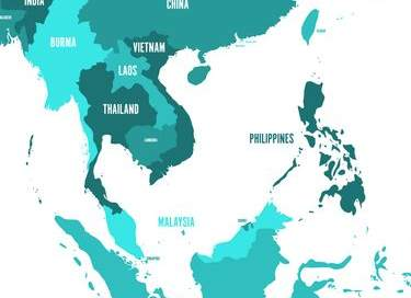 Map of Southeast Asia. Business leaving China.